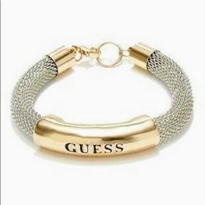 Guess Gold and Silver Metal Mesh Bracelet